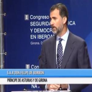 """El Príncipe de Asturias inaugura el """"I Congreso bienal sobre Seguridad Jurídica y Democracia en Iberoamérica"""". (Girona, 03 de junio de 2013)."""